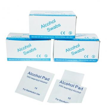 Disposable Alcohol Prep Pads 6X3cm with 75% Isopropyl Alcohol for Skin, Cleaning Toy, Earrings etc